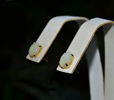 Estate Ethiopian WELO Oval Cabochon Superior Flash OPAL 14K STUDS Post Earring