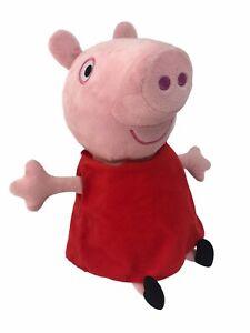 "Peppa Pig Hug N' Oink Plush 12"" Giggles Talks Snorts Red Dress Black Flats WORKS"