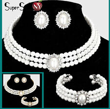 Crystal Clip Earrings Pearl Layered Choker Necklace Wedding Bridal Bead Evening