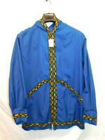 Alaska Native Eskimo Kuspuk Jacket L Blue Orange Green Full Zip Hood Cotton NWT