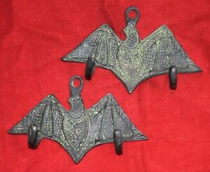 Brass Night Animal Hook Pair Of Hooks Vampire Bat Design Towel Hanging Dec EK132