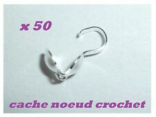50 cache noeud crochet embout argenté - création bijou collier bracelet 9 x 3 mm
