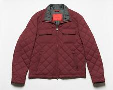 Isaia Napoli $2,995 Burgundy Wool Blend Suede Trims Quilted Work Jacket 50 IT M
