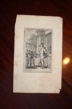 ✒ gravure XVIIIe pour un contre de La Fontaine ou Voltaire