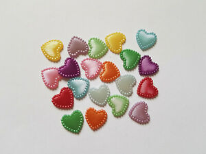 20 x Acrylic Pearl Flatback Cabochons - 14mm - Heart [Various Colours Available]