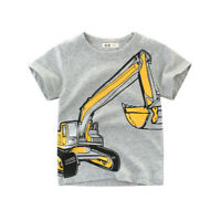 Boys T-Shirt Excavator Kid Girl Children Tops Short Sleeve Cotton Clothes
