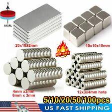 5 100 N52 Super Strong Block Round Hole Hook Fridge Rare Earth Neodymium Magnets