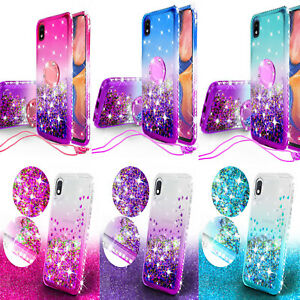 for Samsung Galaxy A10e Case Hybrid Liquid Glitter Diamond Bling Phone Cover