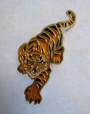 Tiger Gold Tone Enamel Lapel Hat Pin Cat Wild Animal Collectible