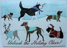 *PUNCH STUDIO Set of 4 Glitter Christmas Cards~Unleashed~Dogs~Terrier~Scotty~Pug
