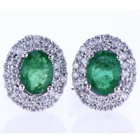 2.10CT Emerald & Diamond Earrings F SI 18K White Gold