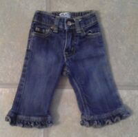 Children's Place Girl's Size 6-9 Months Darling Denim Jeans With Ruffled Hem