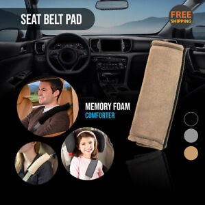 2Pc Beige Seat Belt Pads Comforter Car Safety Soft Shoulder Strap Cover Cushion