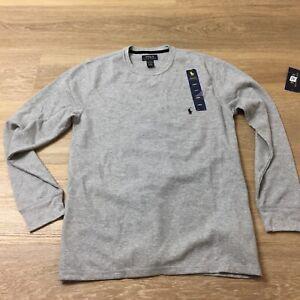 men polo ralph lauren knit polo shirt long sleeve thermal waffle large sleepwear