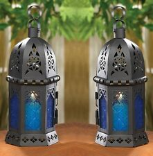 "Ocean Blue Serenity Candle Lantern 10 1/4""tall (Set of 2) Wedding Supplies 14120"