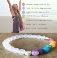 7 Chakra Healing Balance Elephant Charm White Agate Stone Beaded Yoga Bracelet