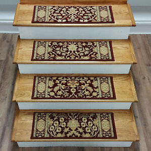 """Rug Depot Set of 15 Traditional Non Slip Carpet Stair Treads 26"""" x 9"""" Red"""