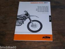 MANUALE D USO KTM 250 400 450 525 XC-F EXC-F XC-W DESERT RACING 2007
