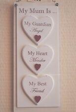 Plaque Mum My Guardian Angel Heart Mender & My Best Friend Cream Sign 27cm F1414