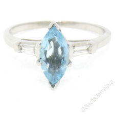 Vintage 14k White Gold 1.2ct Solitaire Marquise Aquamarine Baguette Diamond Ring