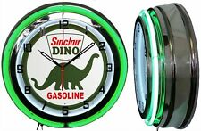 """19"""" SINCLAIR Dino Gasoline Motor Oil Gas Station Sign Double Neon Clock"""