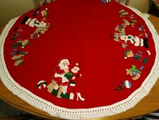 Vintage Handmade Felt Christmas Tree Skirt