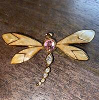 Vintage KJL for Avon Kenneth Jay Lane Dragonfly Enamel Rhinestones Brooch Pin