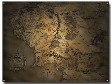 Señor De Los Anillos Mapa De Tierra Media Letrero De Metal A3, cine, Anillo, Hobbit