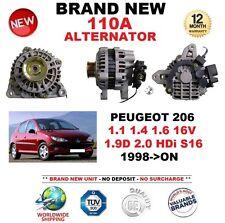 Per PEUGEOT 206 1.1 1.4 1.6 16 V 1.9D 2.0 HDI S16 1998-ON NUOVO 110 A Alternatore