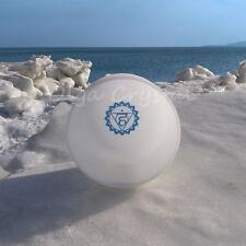 "8"" G Throat Blue Chakra Symble Quartz Crystal Singing Bowl Heal Stone"