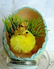 Vintage Handmade Easter Ornament - Real Egg Diorama Chick w/Greens