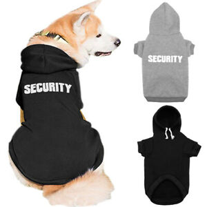 Dog Coat SECURITY Printed Puppy Pet Hoodie Sweater Cotton Dog Clothes Black Gray