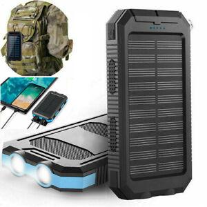 Portable Solar Power Bank 900000mAh Battery Charger 2USB LED For Mobile Phone UK