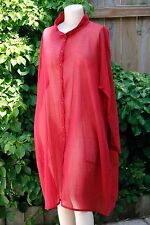 RUNDHOLZ BUTTON-DOWN SHEER RED TUNIC TOP / DUSTER JACKET - SIZE L