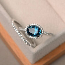 Real 14KT White Gold Rings 1.94 Ct Topaz Gemstone Diamond Ring Sets Size N O M