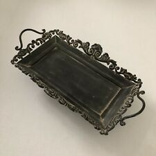 Vintage Scroll Metal Rectangular Footed Vanity Tray Black Approximately 13 x 6