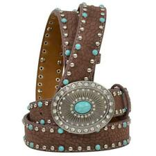 Angel Ranch Western Girls Belt Kids Gator Studded Brown Da5252