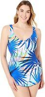 Maxine Of Hollywood Women's 188348 Swim Dress One Piece Swimsuit Size 14