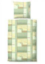 Biberna Fein Biber Bettwäsche 4 tlg Set Streifen grün braun gelb 135x200 cm