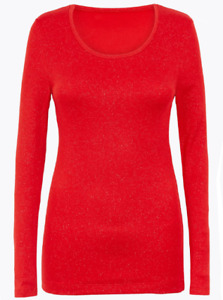Ex M&S Chilli Red Sparkle Heatgen PLUS Thermal Long Sleeve Top - Size 6 to 22