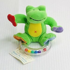 Baby Gund Shake Me I Rattle Green Frog Plush with Plastic Ring Rattle Birth & Up