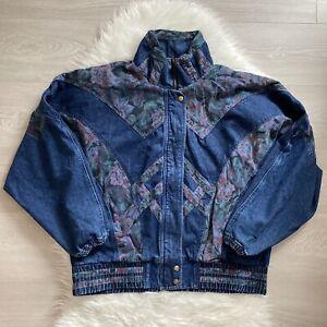 Lavon Cheerful Corp Vintage Denim Jacket Size Large Floral Patchwork Retro 90s