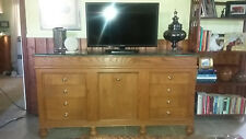 Beautiful Custom Made Solid Oak Credenza with Green Marble TopT - $300