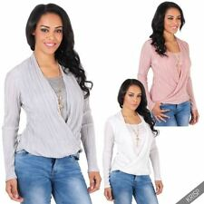 Viscose Long Sleeve Wrap Tops for Women