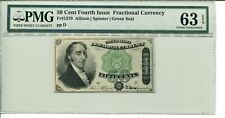 FR 1379 50 CENT FOURTH ISSUE FRACTIONAL 63 EPQ CHOICE UNCIRCULATED
