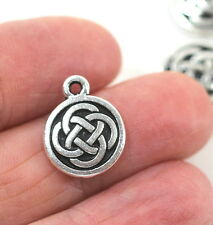 Celtic Round Coin Charm,  TierraCast, Antiqued Fine Silver Plate, 4 Pieces, 3312