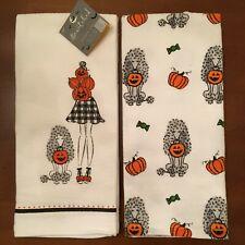 Halloween Kitchen Towels Adorable Trick or Treating Poodle Dog & Mom Set of 2