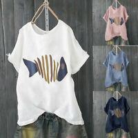 Summer Women Casual Short Sleeve Cotton Linen Fish Bone Blouse Top Loose T-Shirt