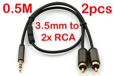 2x 0.5 Metre Male Stereo 3.5mm to 2x RCA Plug Audio Jack Cable Cord Lead 0.5M