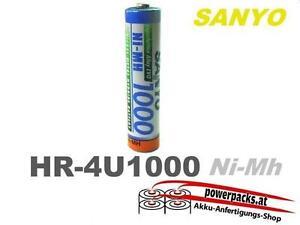 Akku Batterie SANYO AAA 1.2V1000mAh HR-4U und viel mehr...